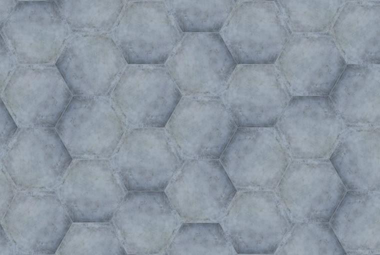 PŁYTKI imitujące beton mogą być ozdobione ciekawym wzorem, np. sześciokąta. HEXON, gres, 152 x 60 cm 149?zł/m kw.?Ceramstic
