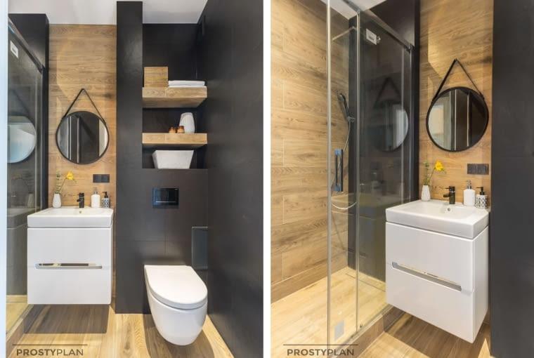 Przytulna aranżacja łazienki. Podłogę i część ścian wyłożono płytkami imitującymi drewno. By zamontować kabinę prysznicową na tym niewielkim metrażu, zdecydowano się na model typu walk-in z przesuwnymi drzwiami.