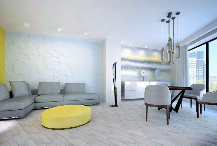 Panele 3D mogą być wykorzystane we wnęce, jako swoisty obraz, ale sprawdzają się też na większych powierzchniach (jeśli mają ponad 10 m2, potrzebne są dylatacje)