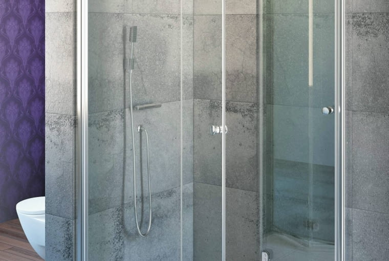 Kabina prysznicowa Eos KDD-B, szkło, 80 x 80 cm, wys. 197 cm, drzwi harmonijkowe, Radaway, cena: od 2465 zł