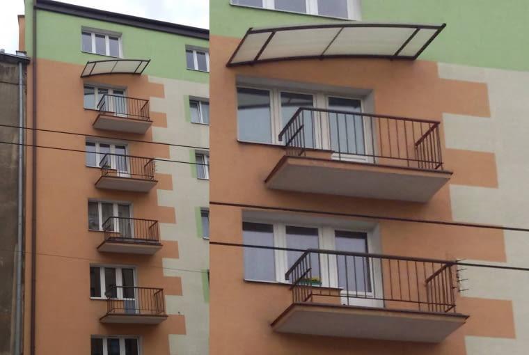 Kombo w Warszawie! Wszystko co dobre w polskiej architekturze: miłość do pasteli, balustrada przenikająca okno, część stropu balkonu poza nim i oczywiście fikuśny daszek.