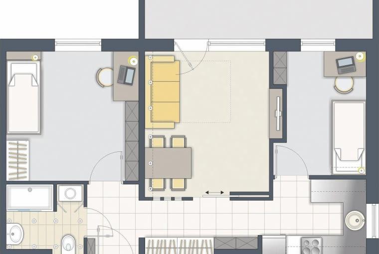 Kuchnia została na swoim miejscu, ale teraz ma nieco inny kształt. Dodatkowy pokój wydzieliłem z przestrzeni salonu.