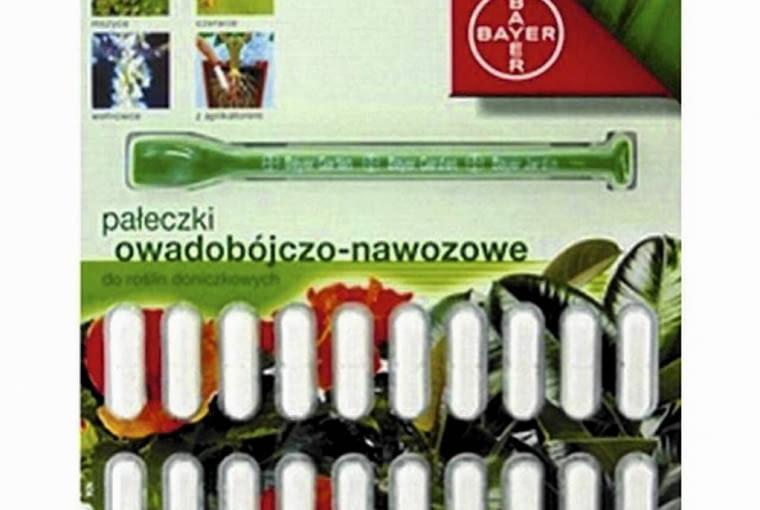 Owadobójczo-nawozowe pałeczki zwalczające szkodniki: Provado Combi Pin, Bayer.