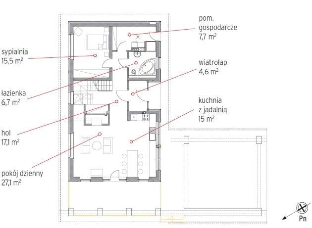 plan parteru, plan domu, dom jednorodzinny