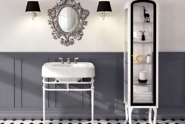 Na konsolce. Stylowy charakter można nadać łazience, umieszczając ceramiczną umywalkę na ażurowej, metalowej konsolce utrzymanej w duchu retro-industrialnym. Na zdjęciu konsola Memhis, Devon & Devon, devon-devon.com
