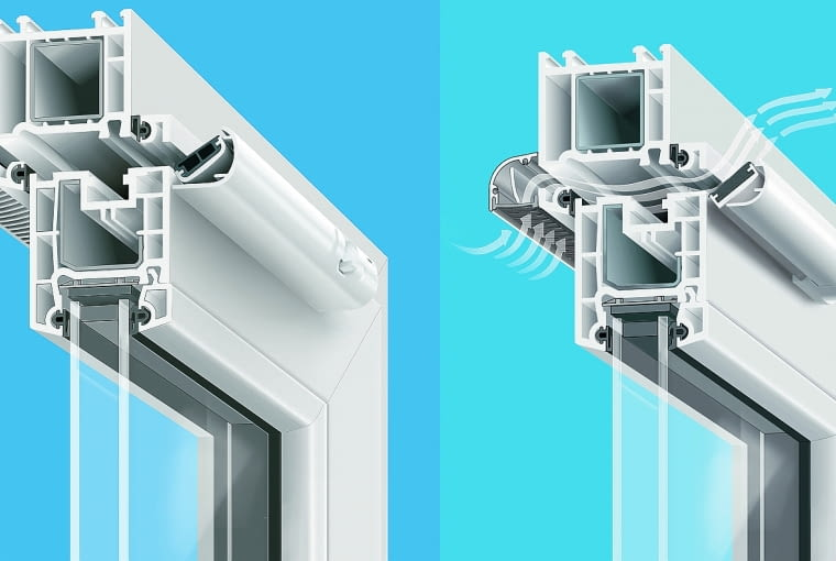 Nawiewnik higrosterowany i ciśnieniowy zamontowane w profilu okiennym
