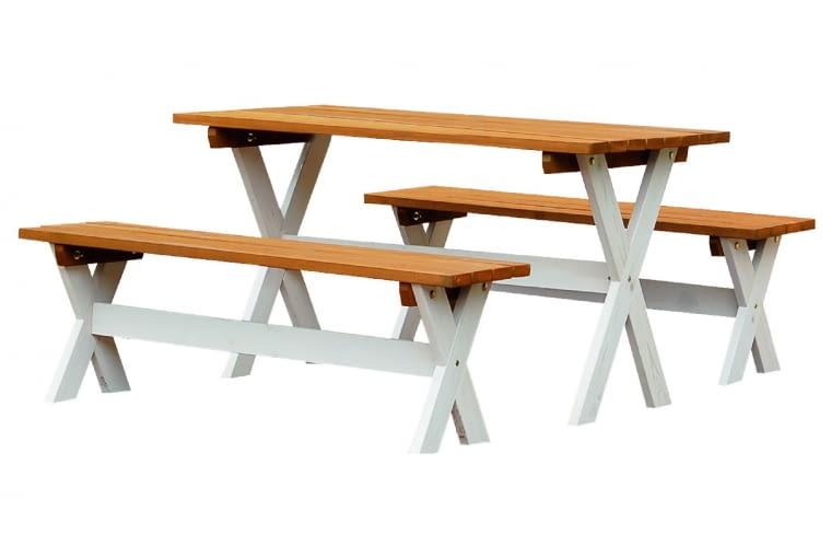 DERBY, drewno, stół (dł. 140 cm) i 2 ławki 849 zł/zestaw Leroy Merlin