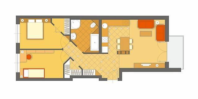 Projekt 2. Również w tej wersji łazienka o nietypowym kształcie została całkowicie przebudowana i powiększona. Narożnik pomieszczenia proponuję ściąć. Konsekwencją tego rozwiązania jest poprowadzona skosem 'odnoga' przedpokoju, z której wchodzi się do obydwóch sypialni, i skośne ściany garderób - w przedpokoju i sypialni rodziców.