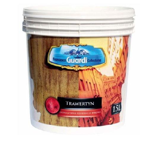 Tynk strukturalny Trawertyn firmy LAKMA SAT; efekt: imitacja naturalnego trawertynu z naturalną dla niego strukturą; kolor: biały; cena: 321,30 zł/15 l