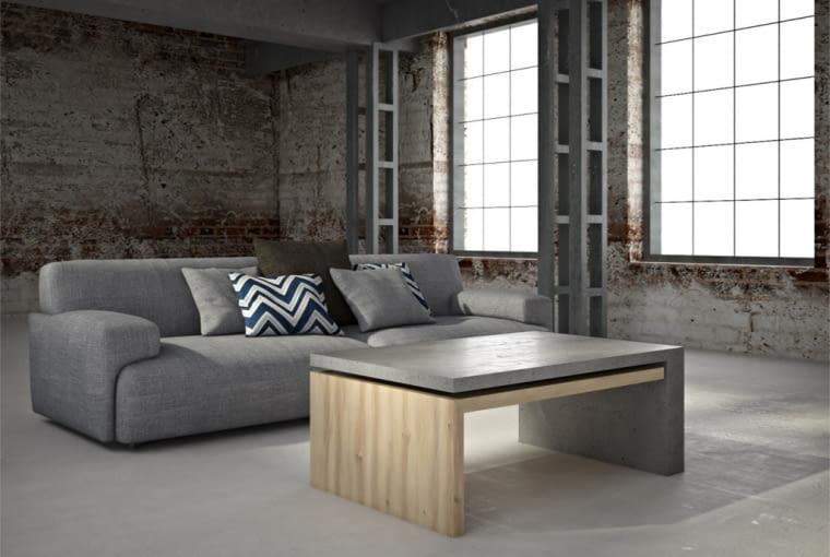 Stoli z betonu architektonicznego i drewna firmy Bettoni