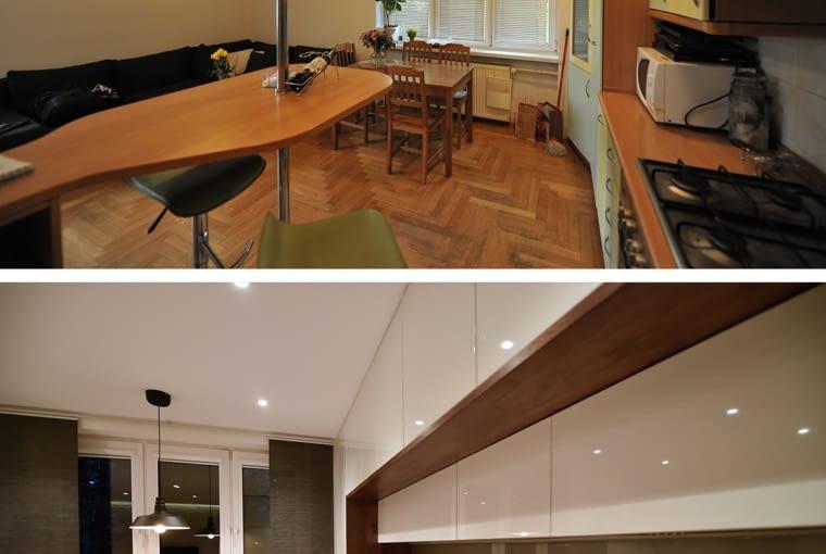salon z otwartą kuchnią, meble kuchenne