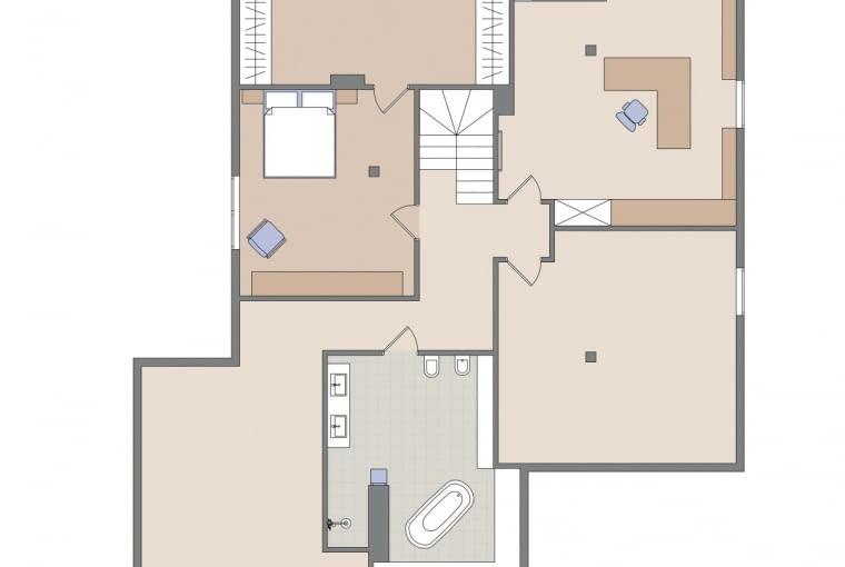 Plan mieszkania: poddasze.