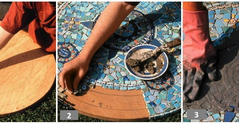 stół z mozaiką
