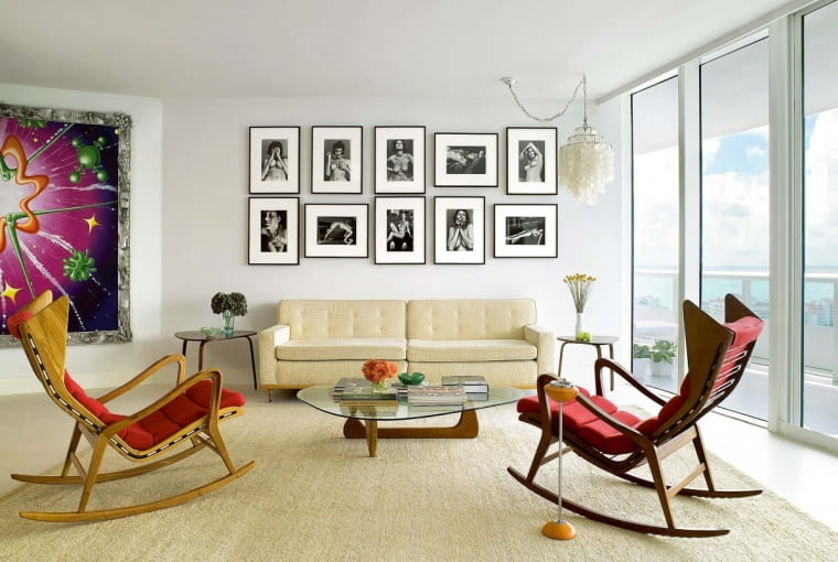 YPair of rocking chairs facing sofa in modern sitting room with Isamu Noguchi coffee table