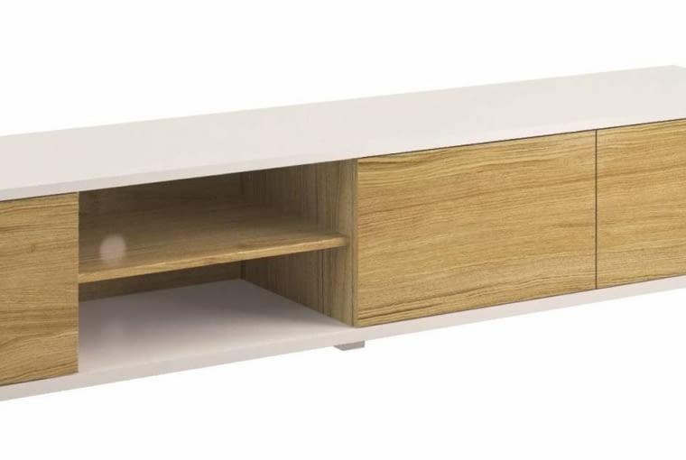 Szafka RTV BIANCO, drewno, 233 x 48 cm, wys. 43,5 cm, cena: 1351 zł, Paged