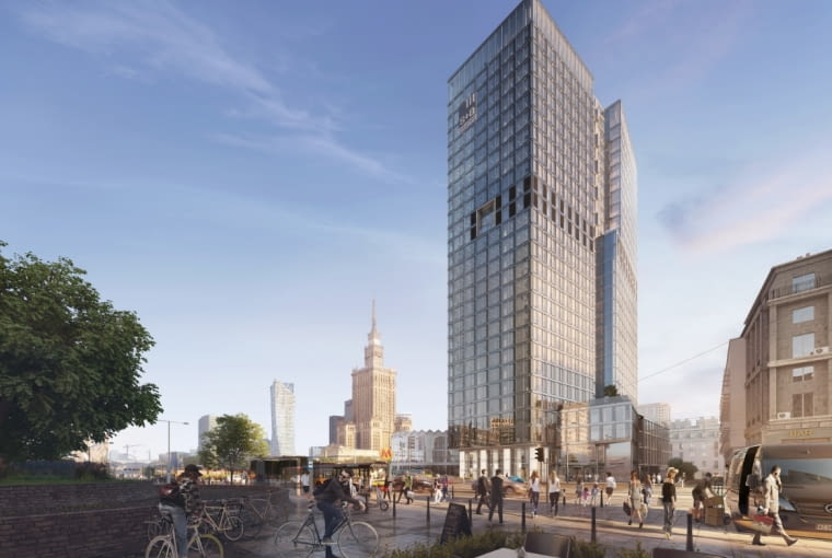 Wizualizacja wieżowca Widok Towers, budowanego z tyłu za Rotundą, na miejscu dawnego biurowca Universal