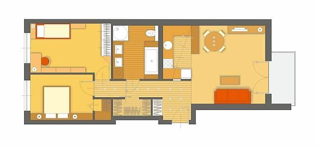 Projekt 1. Zgodnie z Pani sugestią kształt nieustawnej łazienki został zmieniony, znacznie zwiększyła się również jej powierzchnia. W przebudowanym pomieszczeniu, które można urządzić jako komfortowy salonik kąpielowy, bez problemu mieści się zarówno wanna, jak i kabina prysznicowa.