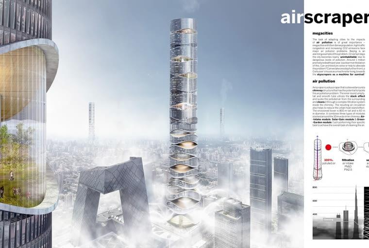 Airscraper - proj. Klaudia Gołaszewska i Marek Grodzicki. II miejsce w konkursie eVolo Skyscraper competition