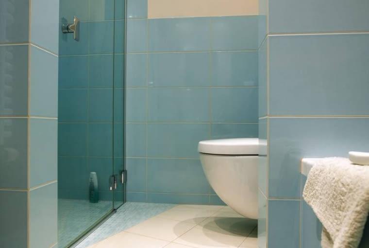 Podwyższona podłoga służy nie tylko optycznemu wydzieleniu kącika - ukryto w niej rury odprowadzające wodę z kabiny.