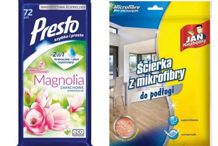 Chusteczki uniwersalne magnolia, 7,99 zł/72 szt., Presto; ścierka, mikrofibra, 11 zł, Jan Niezbędny
