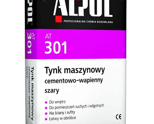 AT 301 Tynk maszynowy cementowo-wapienny szary firmy Alpol, worek 30 kg, cena netto (bez rabatów) 18,30 zł/opak.