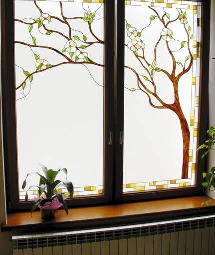 Szkło matowe z witrażem