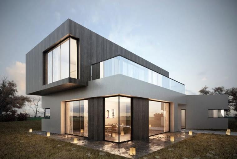 Projekt elewacji i wizualizacja domu jednorodzinnego w Sulejówku dla biura mkarchtekci,