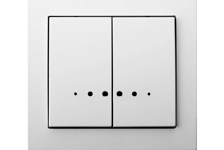 NIŻSZA CENA Kier/OSPEL; Łącznik dwugrupowy, świecznikowy z podświetleniem białe tworzywo sztuczne Cena: ok. 15 zł