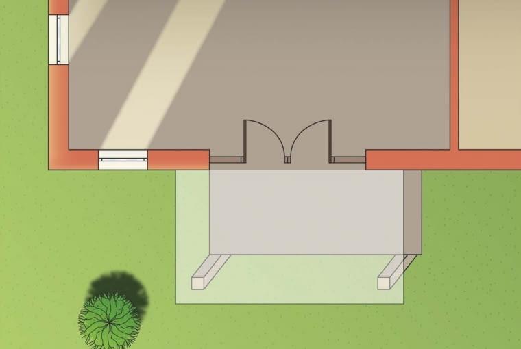 Zadaszenie tarasu nie zacienia wszystkich okien