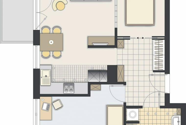 Rozwiązanie 2 <BR />W układzie pomieszczeń nie zaszły duże zmiany. Kuchnia została w zaplanowanym miejscu, a nową sypialnię wydzieliłem w przestrzeni dziennej.