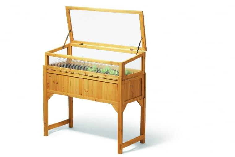 Podwyższona grządka z nakładką, idealna do balkonowych wysiewów, 20×120×54 cm, Tchibo.