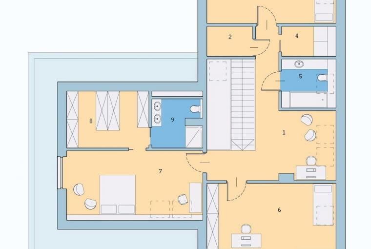 plany architeltoniczne, rzut pomieszczeń, piętro, dom jednorodzinny
