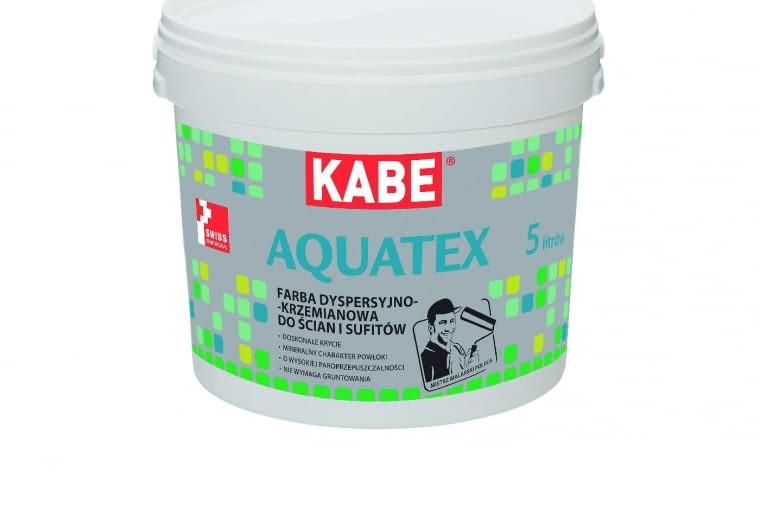 Aquatex/FARBY KABE POLSKA| Rodzaj: farba dyspersyjno-krzemianowa do ścian i sufitów, na podłoża mineralne i pokryte farbami | doskonałe krycie, najwyższa odporność na zmywanie i szorowanie | wysoka paroprzepuszczalność, nie wymaga gruntowania, polecana do pomieszczeń mokrych. Cena: 13,90 zł/1 l, www.farbykabe.pl