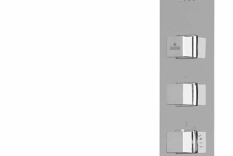 Multibox. Głowica i dysze mają tzw. matrycową budową - tworzą jednolitą całość z panelem, na którym widoczne są punkty wypływu wody; bateria termostatyczna. Cena: 3249 zł DEANTE www.deante.pl