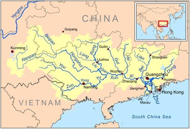 RZEKA PERLOWA, DELTA, MAPA, CHINY, PEARL RIVER, CHINA, MAP,