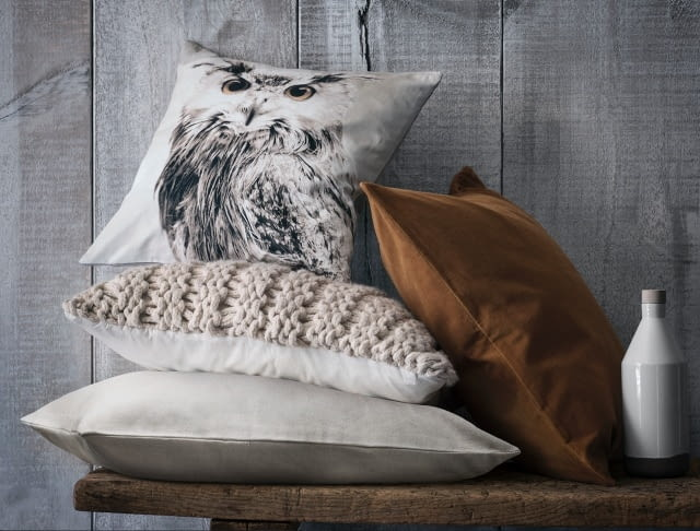 H&M Home, poduszki, naturalne kolory