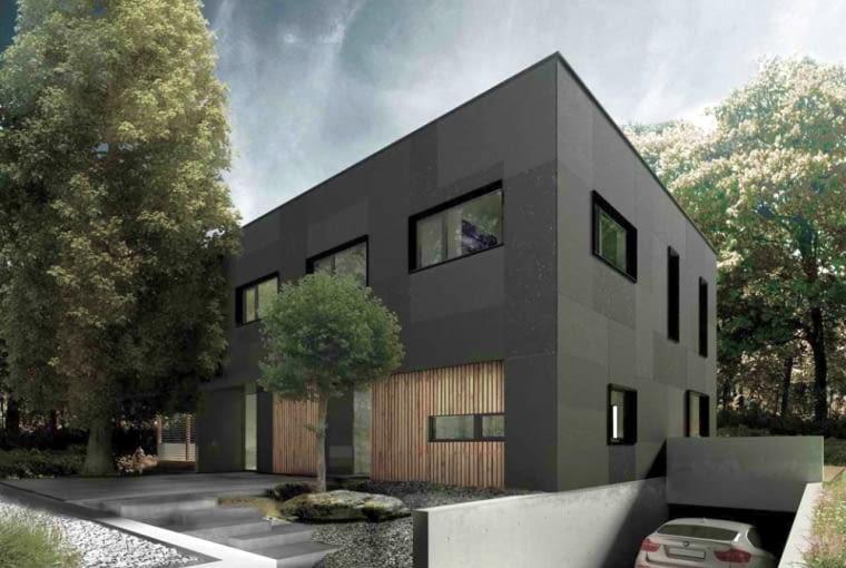 Dom dwurodzinny w Gdyni z podziemną halą garażową - wizualizacja