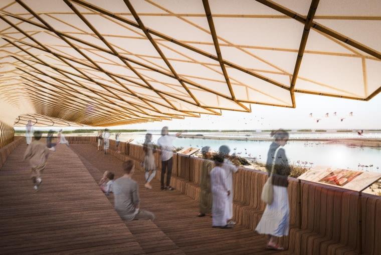 Platforma obserwacyjna flamingów w rezerwacie Al Wathba (Zjednoczone Emiraty Arabskie). Proj. AIDIA STUDIO