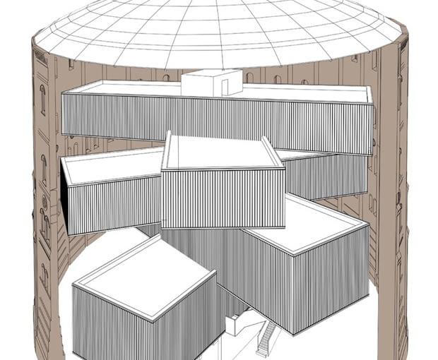 Projekt adaptacji dawnych zbiorników gazu na centrum kultury - schemat