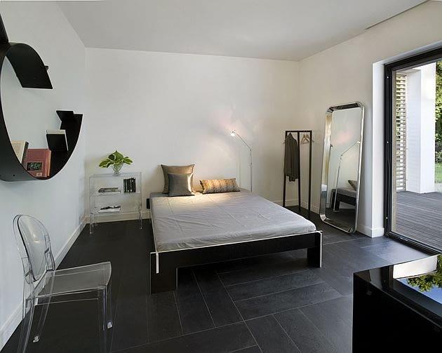 dom jednorodzinny, nowoczesny dom, sypialnia