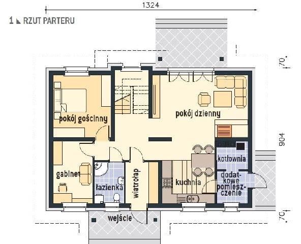 rzut parteru, projekt domu, plany domu