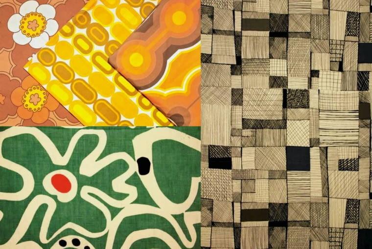Ważną ozdobą wnętrza były kolorowe tkaniny w wyraziste desenie, często projektowane przez uznanych artystów. Na zdjęciu od lewej: wzory współczesne (trzy pierwsze) i z lat 60. - Owoce Krystyny Policzkowskiej-Gałeckiej i Kreski Danuty Paprowicz-Michno.
