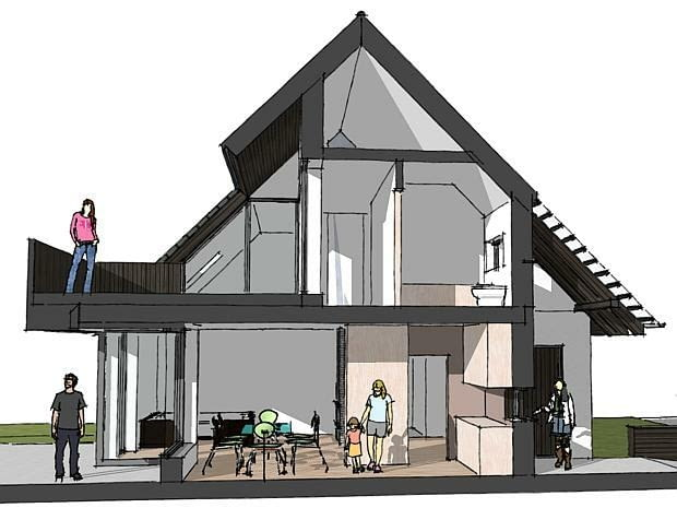 projekty domów, przekrój domu