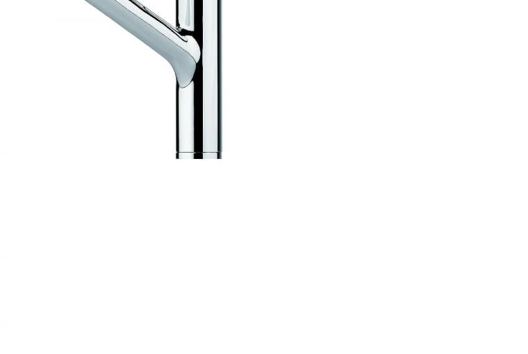 Meos/FRANKE | Ze stałą wylewką | wężyki podłączeniowe o dł. 370 mm | głowica ceramiczna 35 mm | grupa akustyczna I. Cena: 899 zł (chromowana), www.franke.pl
