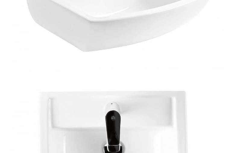 Legato/ARMATURA KRAKÓW. Umywalka nablatowo-meblowa z ceramiki sanitarnej, o szerokich krawędziach i masywnej formie, wymiary: szerokość 50, długość 42 cm; model umożliwia centralny montaż baterii. Cena: 366 zł, www.grupa-armatura.com