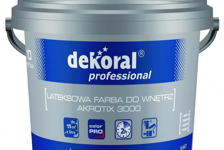 Akrotix 3000 Dekoral Professional/PPG DECO POLSKA| Rodzaj: farba lateksowa m.in. na beton, gips, płyty g-k | odporność na szorowanie: klasa 2 wg normy PN-EN 13300 | wydajność: 11-15 m2/l | kolory: biały + kolory w systemie Color Pro | opakowania: 3 l, 10 l (biały), 2,8 l, 10 l (baza LN, DN, ZN, ZX). Cena: 226,70 zł/10 l, www.dekoralprofessional.pl