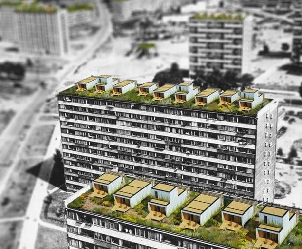 Koncepcja wykorzystania dachów bloków z wielkiej płyty jako przestrzeni pod zabudowę mieszkaniową jednorodzinną.