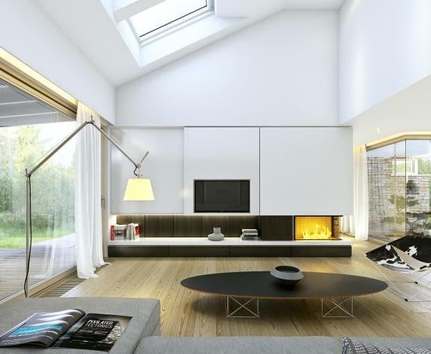 dom parterowy, salon, okna połaciowe, kominek
