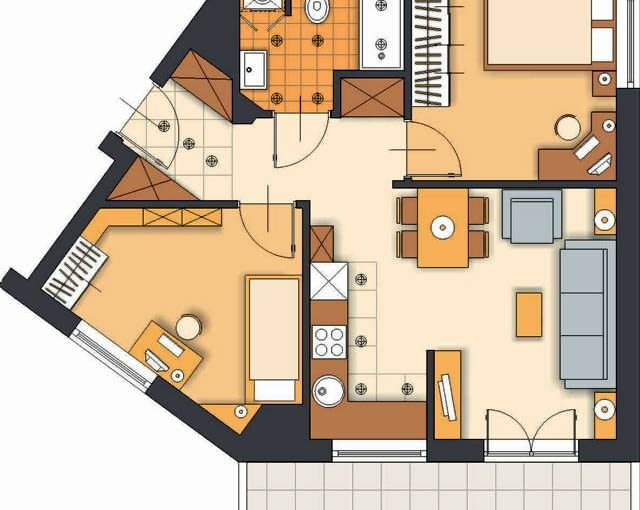 Projekt 1. Zgodnie z Państwa sugestią zdecydowałam się zmienić układ mieszkania, co pociągnęło za sobą konieczność przestawienia kilku ścian. Kuchnia jest teraz aneksem pokoju dziennego - niedużym, ale bardzo funkcjonalnym. W zabudowie w kształcie litery L mieszczą się wszystkie niezbędne urządzenia.