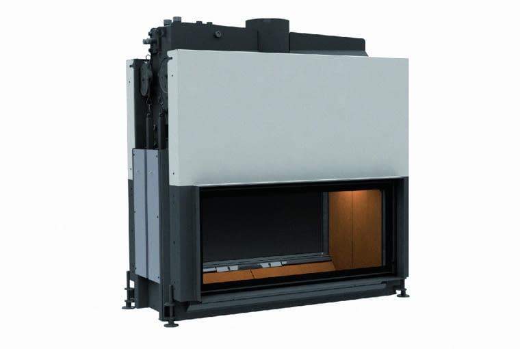 Architektur - Kamin Tunnel 45/101 z nasadą wodną/BRUNNER | Wymiary (wys./szer./gł.): 1340 x 1275 x gł.722 mm | ciepło użytkowe z załadunku 4-7 kg drewna - 13-24 kWh | palenisko wykonane ze stali, szyba witroceramiczna, szamot naturalny | w opcji sterowanie procesem spalania lub pompą obiegową. Cena (netto): ok. 30 275 zł, www.brunner.pl